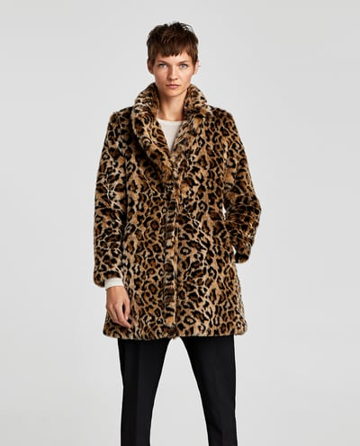 fea055d33 In a sea of black coats it's nice to see some pattern! If you don't mind a  pop of leopard, this fun coat from Zara is a great one.