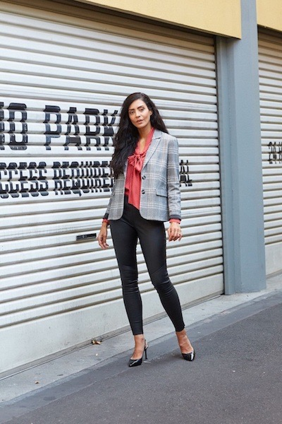 how to wear a checkered blazer